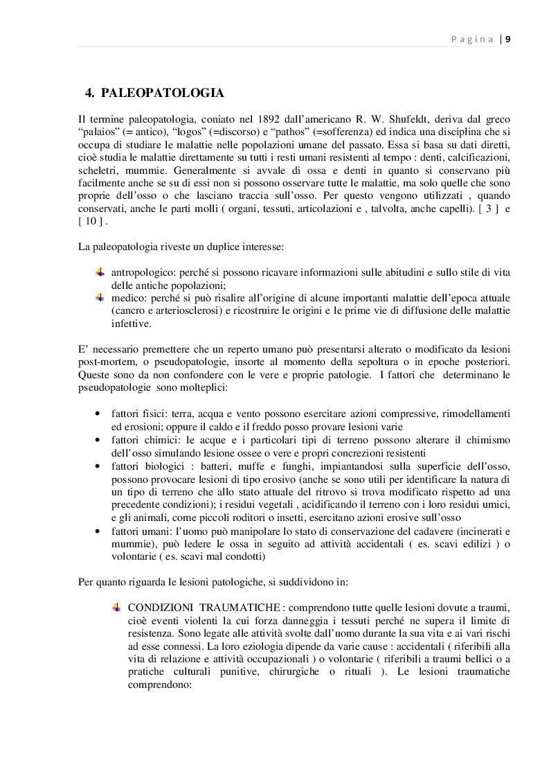 Estratto dalla tesi: Indicatori di paleopatologia in un campione scheletrico di Serramanna