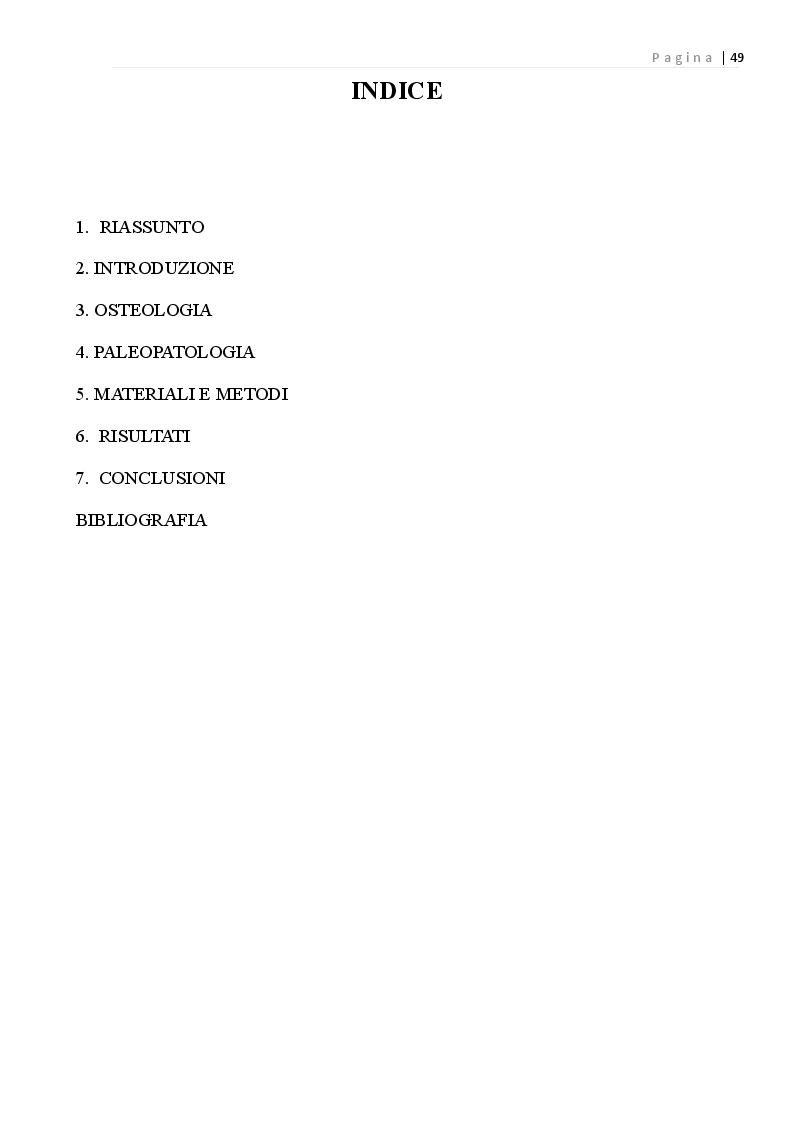 Indice della tesi: Indicatori di paleopatologia in un campione scheletrico di Serramanna, Pagina 1