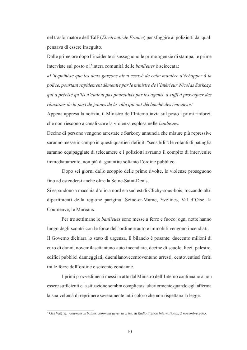 Estratto dalla tesi: La banlieue parigina in rivolta nel racconto dei media francesi.