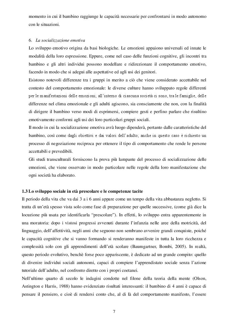 Estratto dalla tesi: Sviluppo Sociale ed affettivo del Bambino.