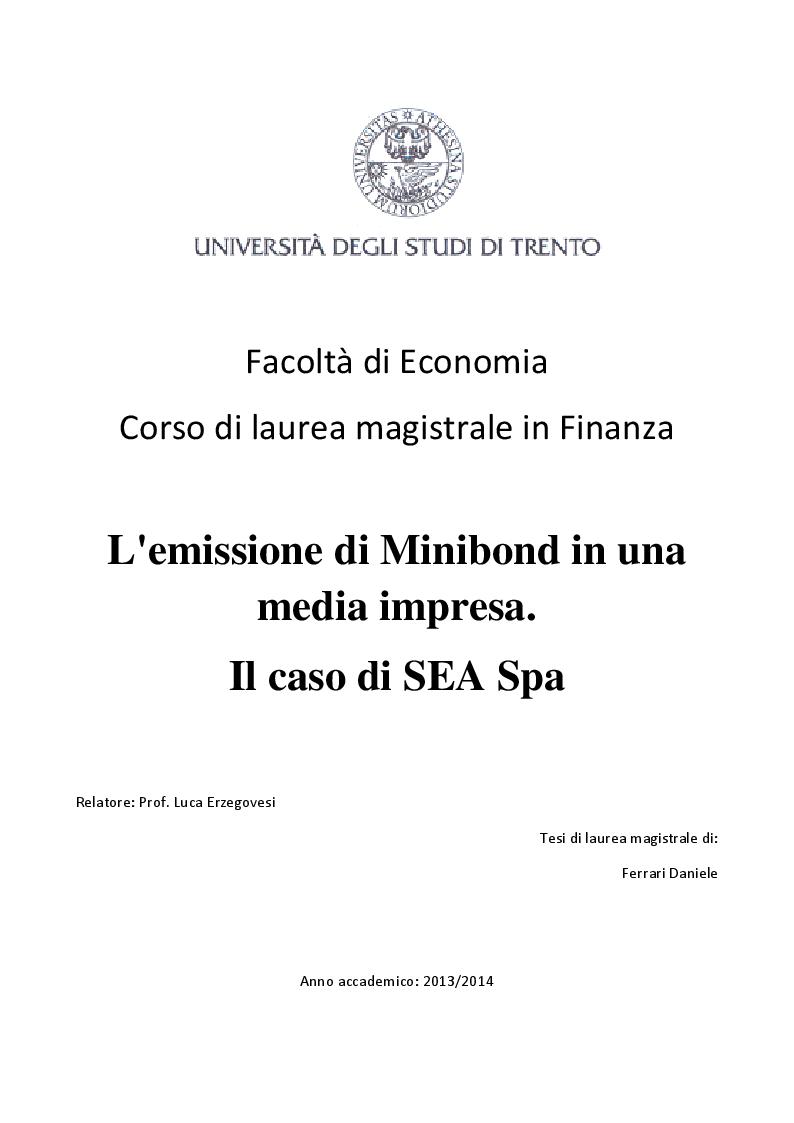 Anteprima della tesi: L'emissione di Minibond in una media impresa. Il caso di Sea S.p.a., Pagina 1