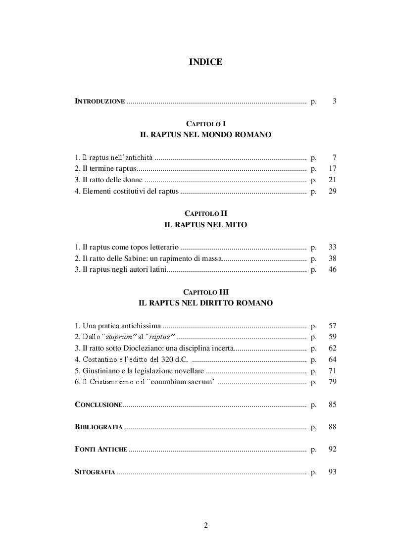 Indice della tesi: Il raptus della donna nell'antica Roma, Pagina 1