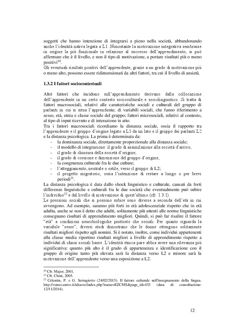 Estratto dalla tesi: Italiano L2 di sinofoni: dati sull'acquisizione della morfologia del verbo e del nome
