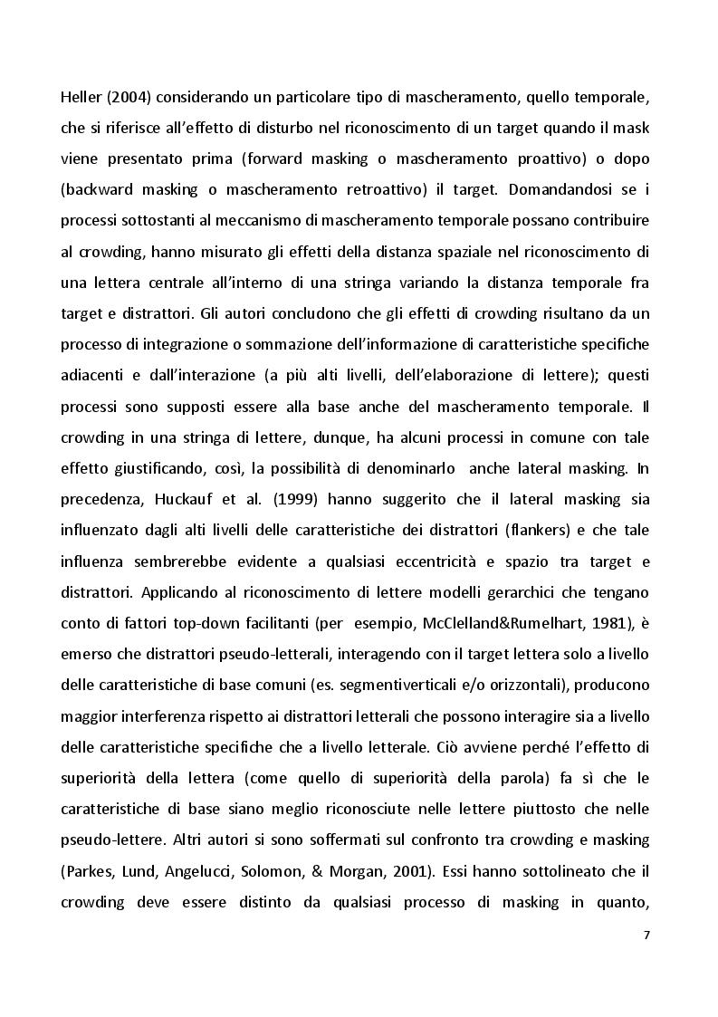 Estratto dalla tesi: Effetto della variabilità degli stimoli sul crowding