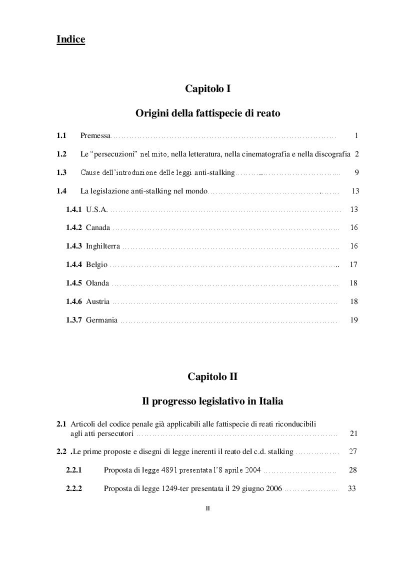 Indice della tesi: Il reato di atti persecutori. Genesi e sviluppo della Legge contro lo Stalking, Pagina 1