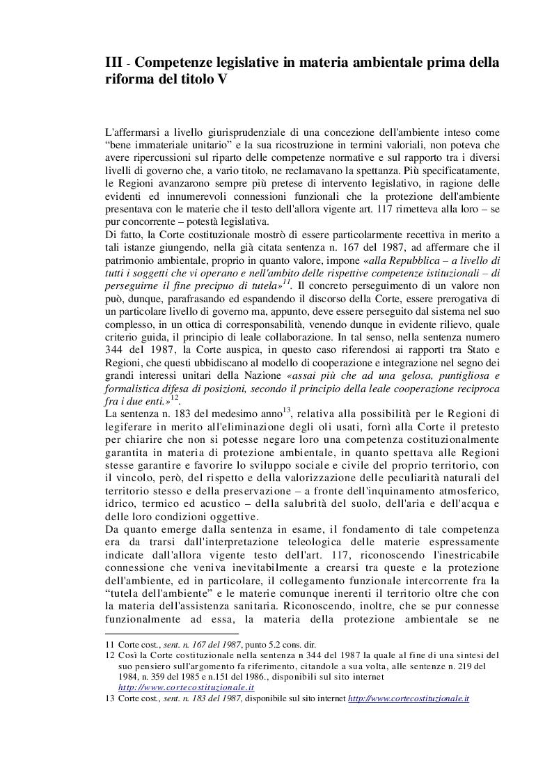 """Estratto dalla tesi: Competenze legislative in materia ambientale. L'ambiente: da valore a """"bene della vita materiale e complesso"""""""
