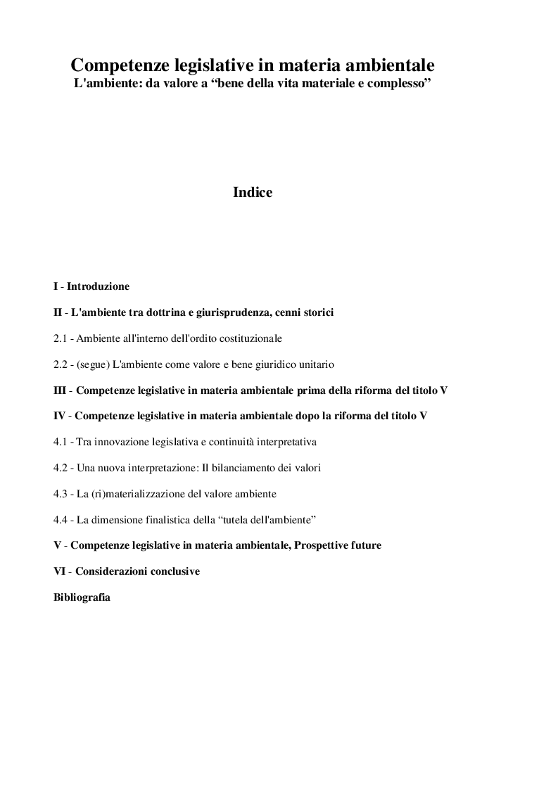 """Indice della tesi: Competenze legislative in materia ambientale. L'ambiente: da valore a """"bene della vita materiale e complesso"""", Pagina 1"""