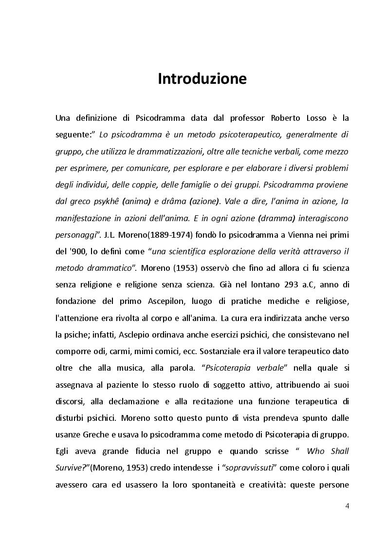 Psicodramma: storia, metodologie ed i primi contatti formativi - Tesi di Laurea
