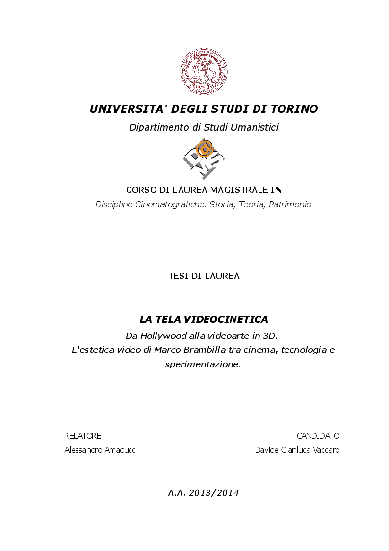 Anteprima della tesi: La Tela Videocinetica, Pagina 1
