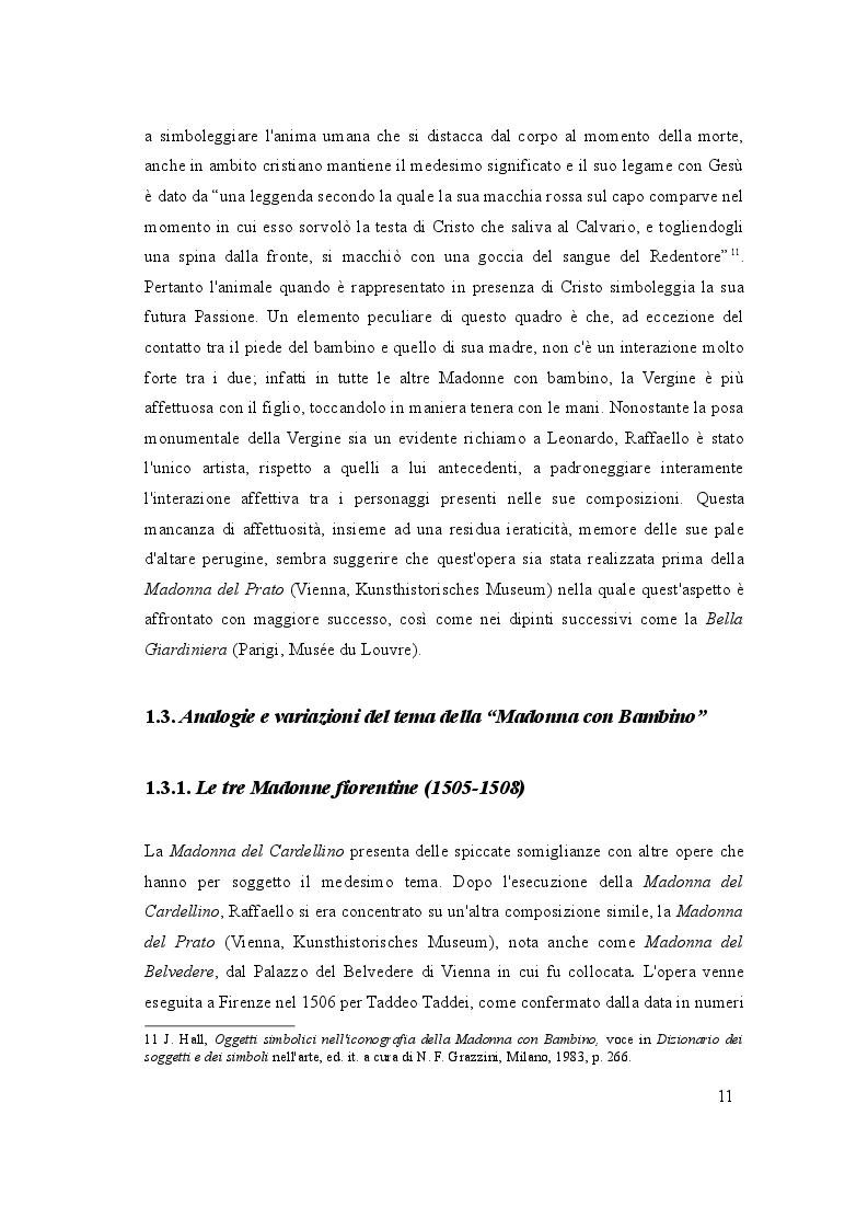Estratto dalla tesi: La Madonna del Cardellino di Raffaello. Indagini iconografiche e interventi conservativi più recenti del dipinto