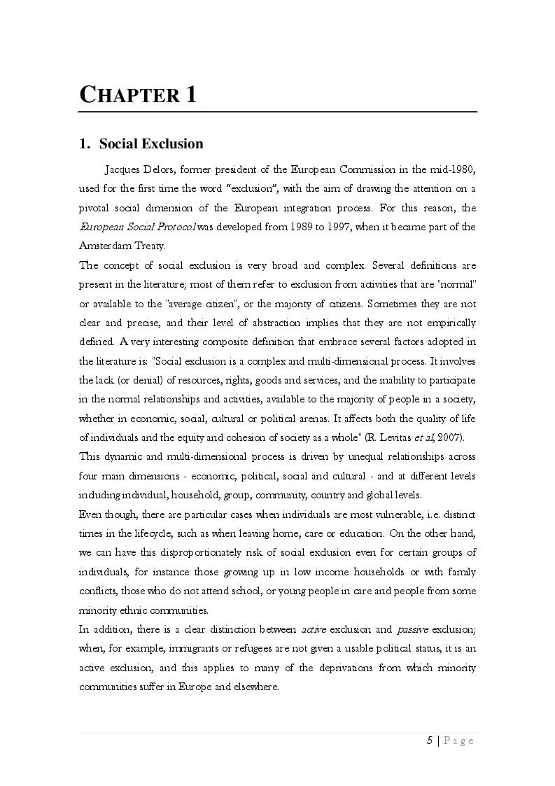 Estratto dalla tesi: The Multidimensional Aspects of Social Exclusion and Ethnicity in the United Kingdom
