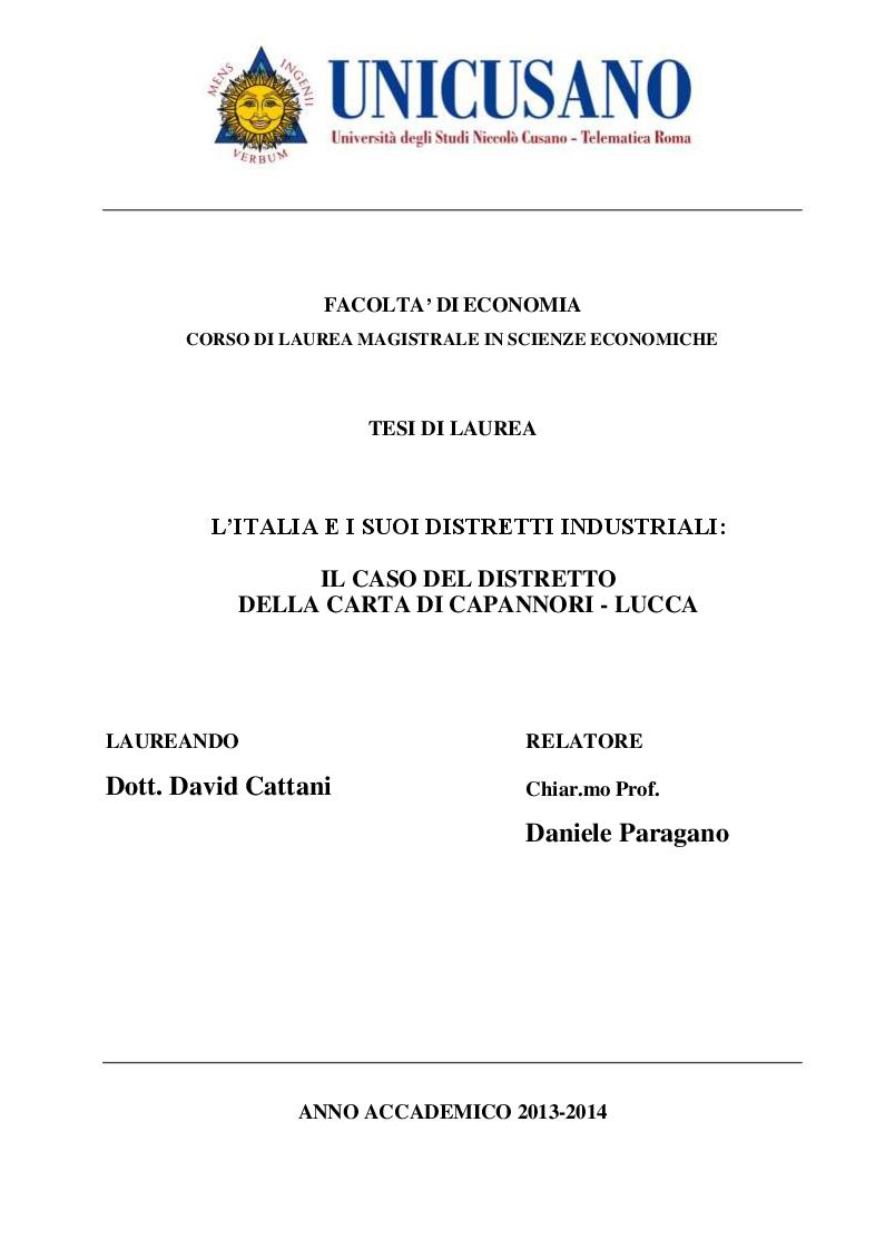 Anteprima della tesi: L'Italia e i suoi distretti industriali: Il caso del distretto della carta di Capannori - Lucca, Pagina 1