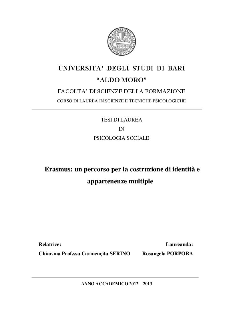 Anteprima della tesi: Erasmus: un percorso per la costruzione di identità e appartenenze multiple, Pagina 1