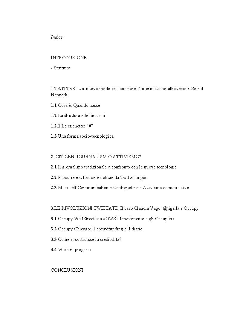 Indice della tesi: Citizen Journalism e attivismo politico su Twitter., Pagina 1