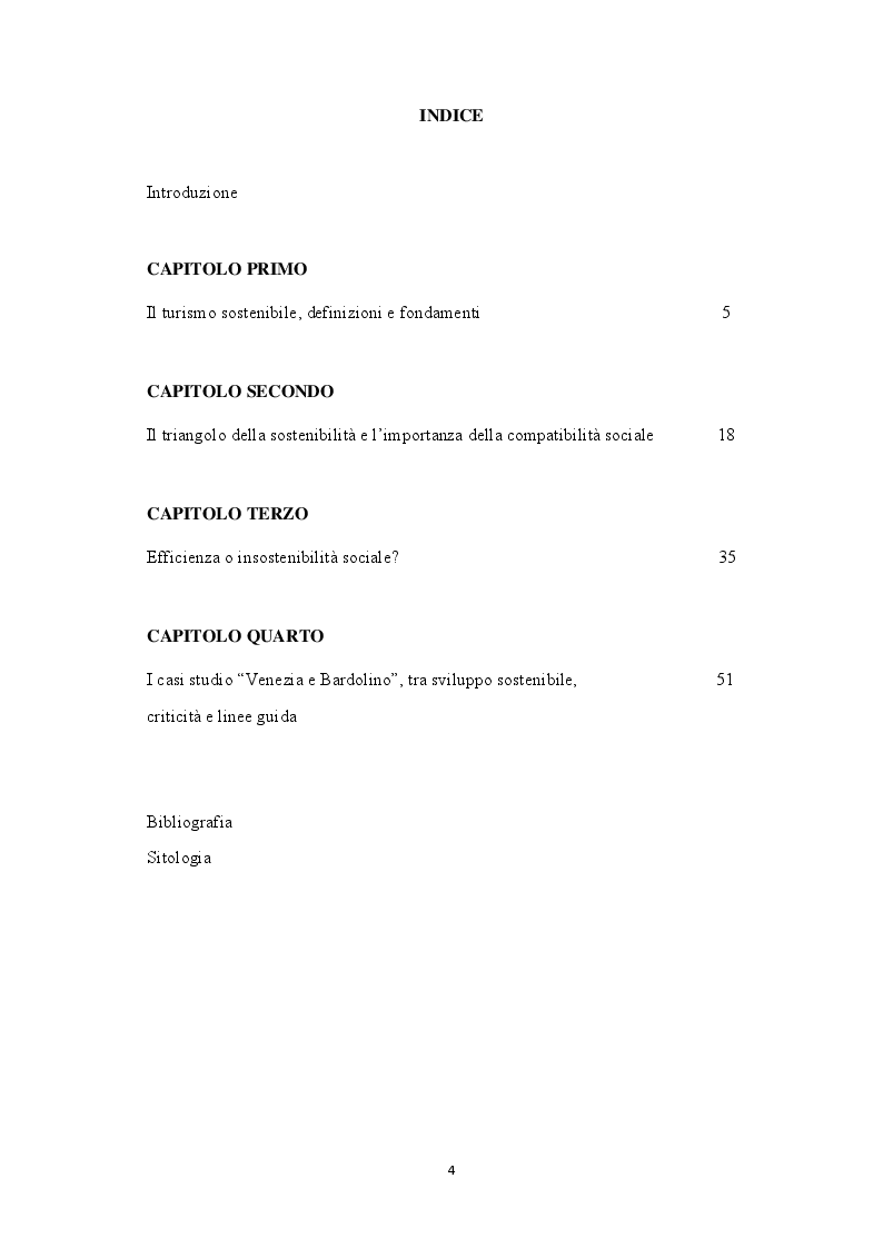 Indice della tesi: Integrità e sostenibilità sociale nel turismo, il caso Venezia e Bardolino, Pagina 1