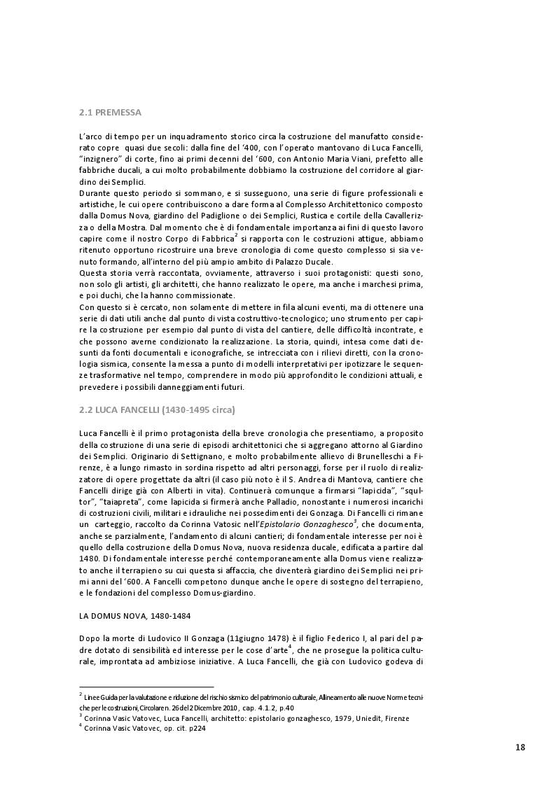 Estratto dalla tesi: Restauro del Corridore al Giardino dei Semplici nel Palazzo Ducale di Mantova
