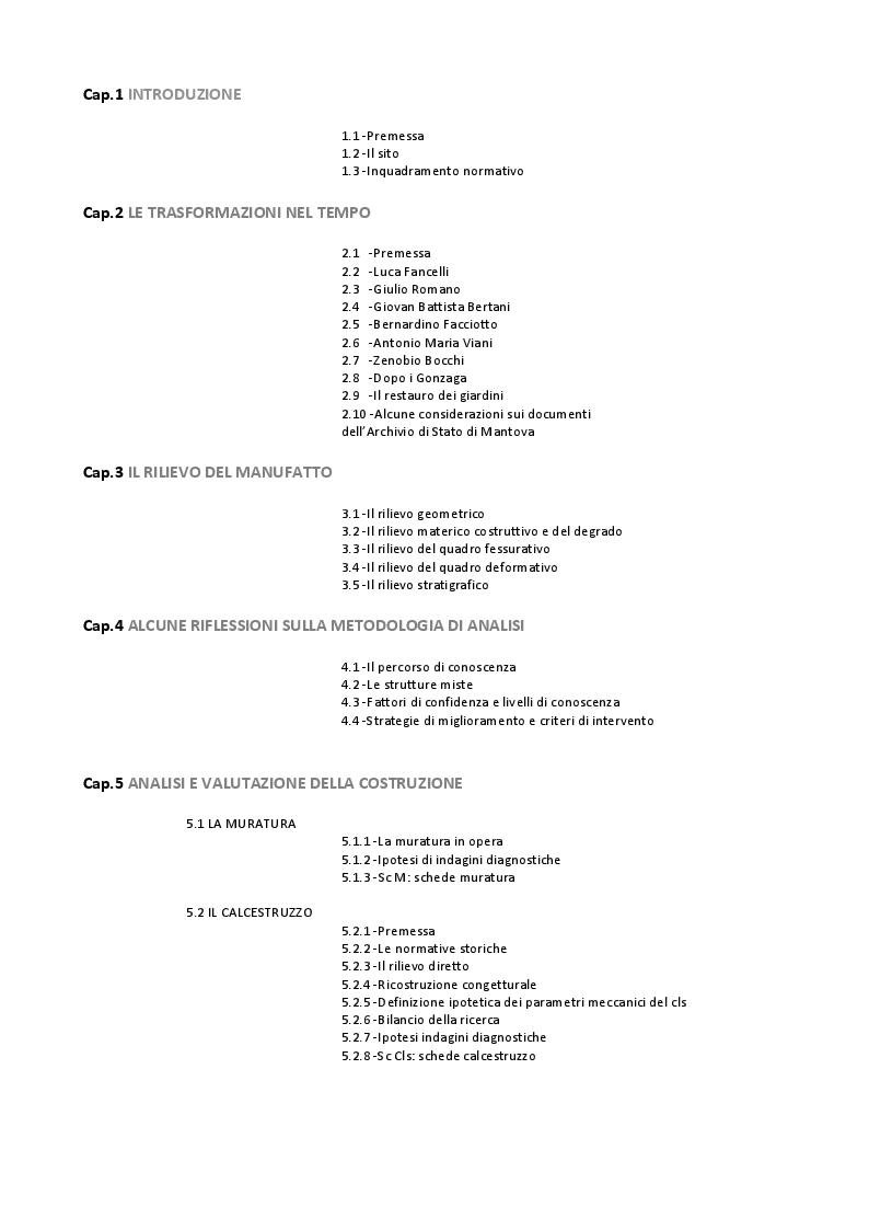 Indice della tesi: Restauro del Corridore al Giardino dei Semplici nel Palazzo Ducale di Mantova , Pagina 1