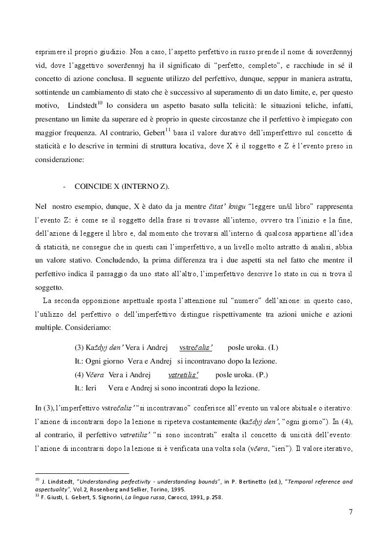 Estratto dalla tesi: Il verbo russo: l'aspetto verbale nella prospettiva didattica