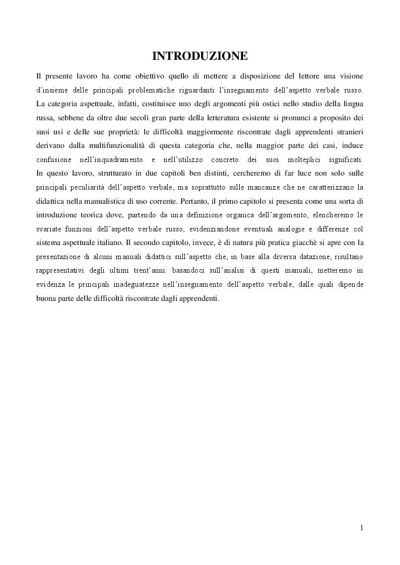 Il verbo russo: l'aspetto verbale nella prospettiva didattica - Tesi di Laurea