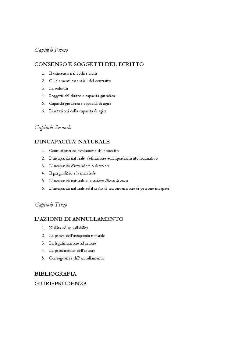 Indice della tesi: L'incapacità naturale, Pagina 1