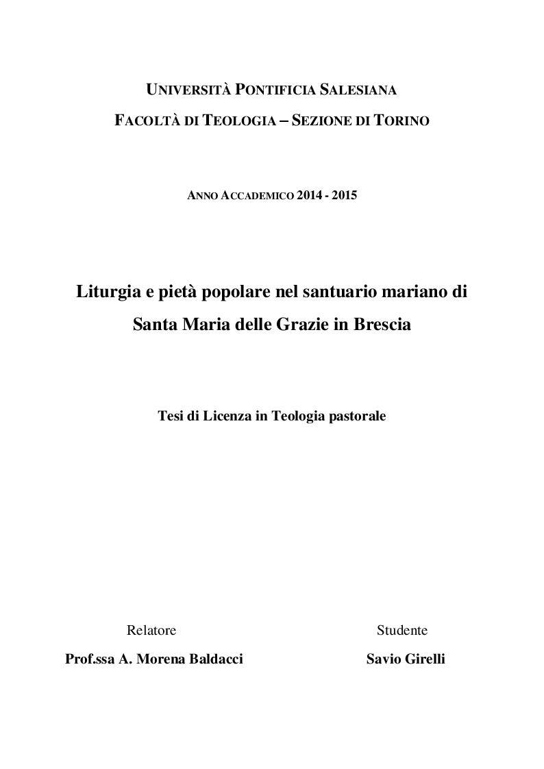 Anteprima della tesi: Liturgia e pietà popolare al santuario di Santa Maria delle Grazie in Brescia, Pagina 1
