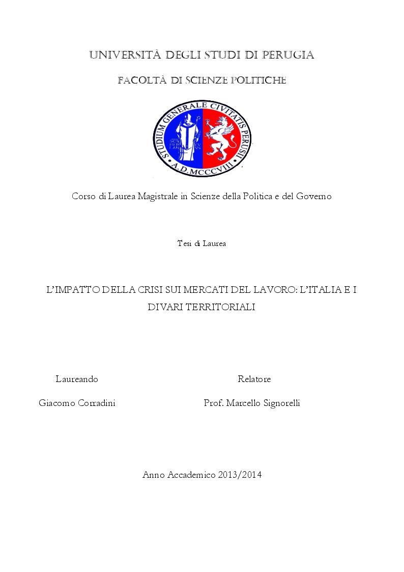 Anteprima della tesi: L'impatto della crisi sui mercati del lavoro: l'Italia e i divari territoriali, Pagina 1