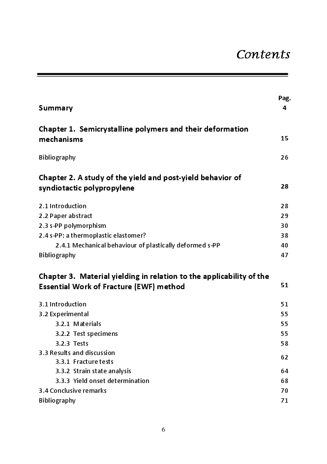 Indice della tesi: Yield and Post-Yield Behaviour  of Semicrystalline Polymers: Open Issues of Practical Interest, Pagina 1