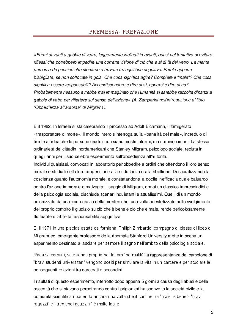 Conformismo ed obbedienza: Analisi storica ed empirica, casistiche ed esperimenti di psicologia sociale - Tesi di Laurea