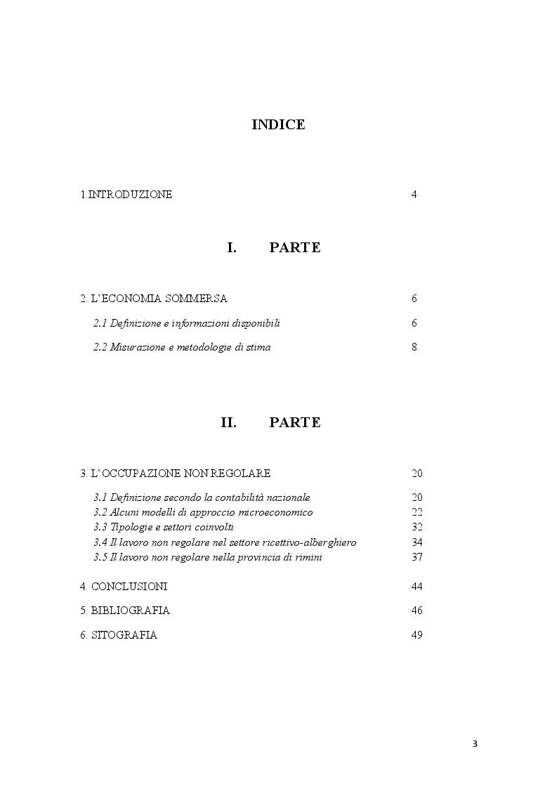 Indice della tesi: Economia sommersa e lavoro nero nel settore alberghiero: il caso di Rimini, Pagina 1