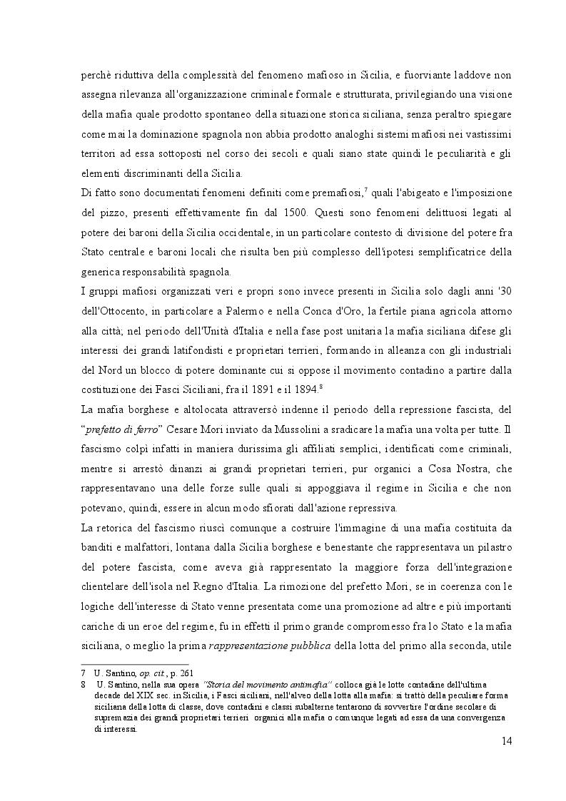Estratto dalla tesi: Diffusione e insediamento delle mafie italiane in Europa fra fine XX e inizio XXI secolo