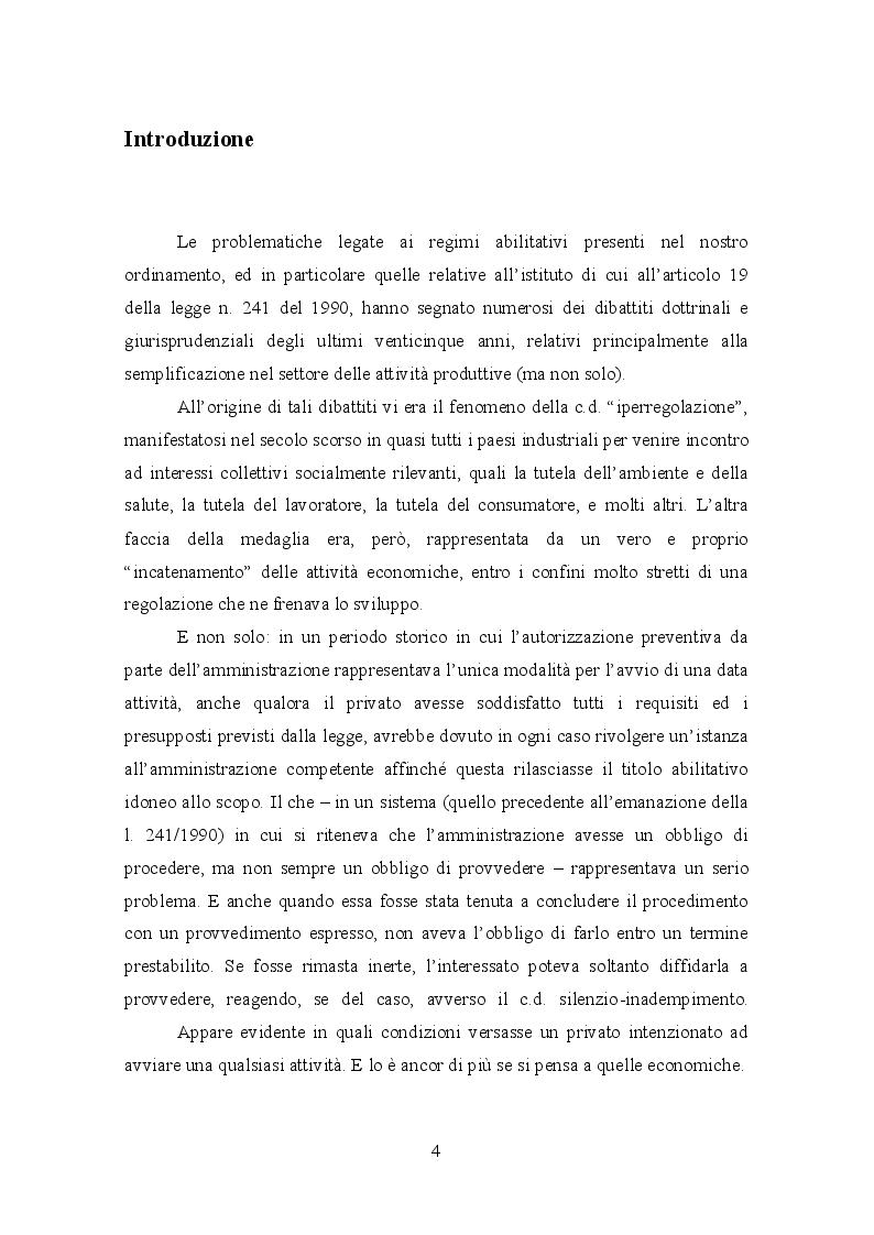 La S.C.I.A.: ultimo baluardo del controllo pubblico prima della liberalizzazione - Tesi di Laurea