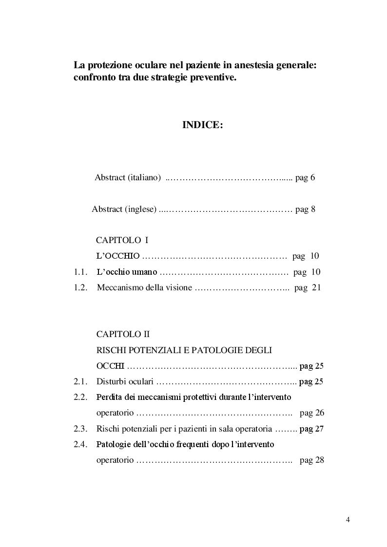 Indice della tesi: La protezione oculare nel paziente in anestesia generale: confronto tra due strategie preventive, Pagina 1