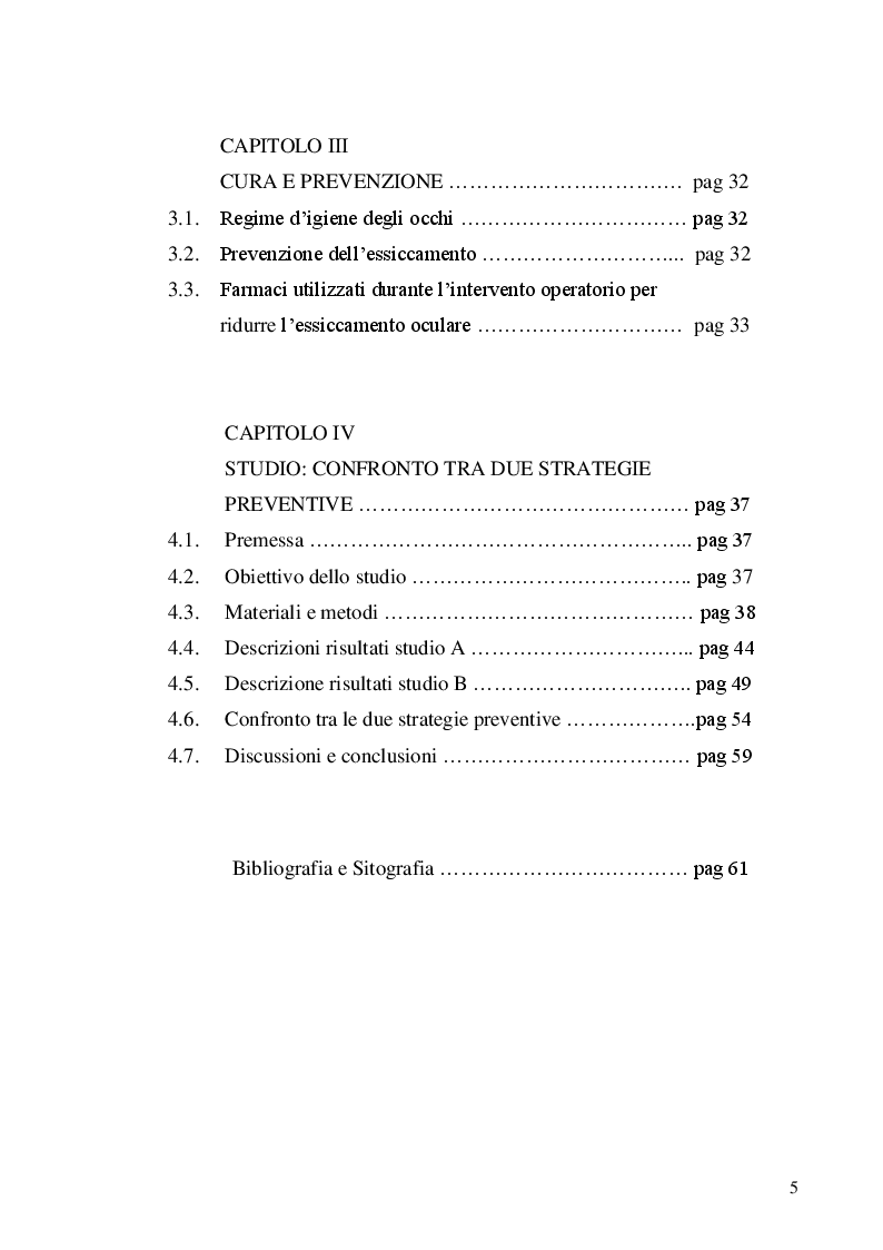 Indice della tesi: La protezione oculare nel paziente in anestesia generale: confronto tra due strategie preventive, Pagina 2