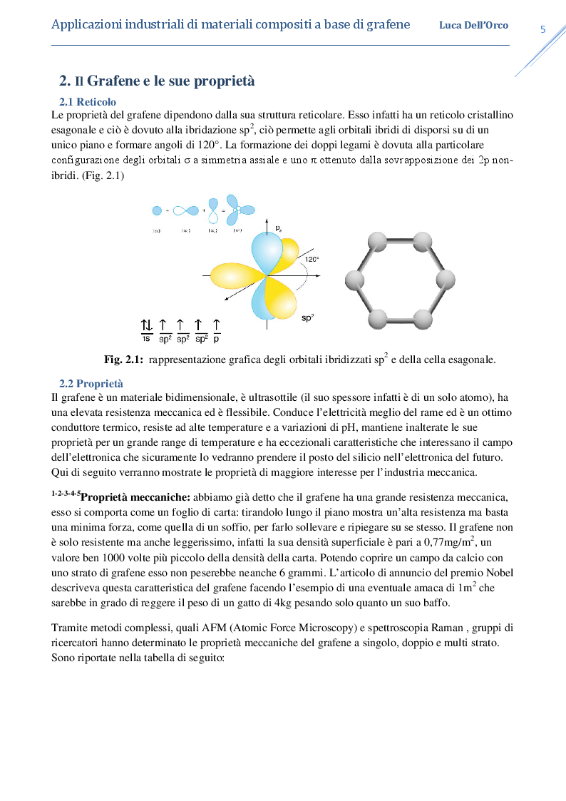 Estratto dalla tesi: Applicazioni industriali di materiali  compositi a base di grafene