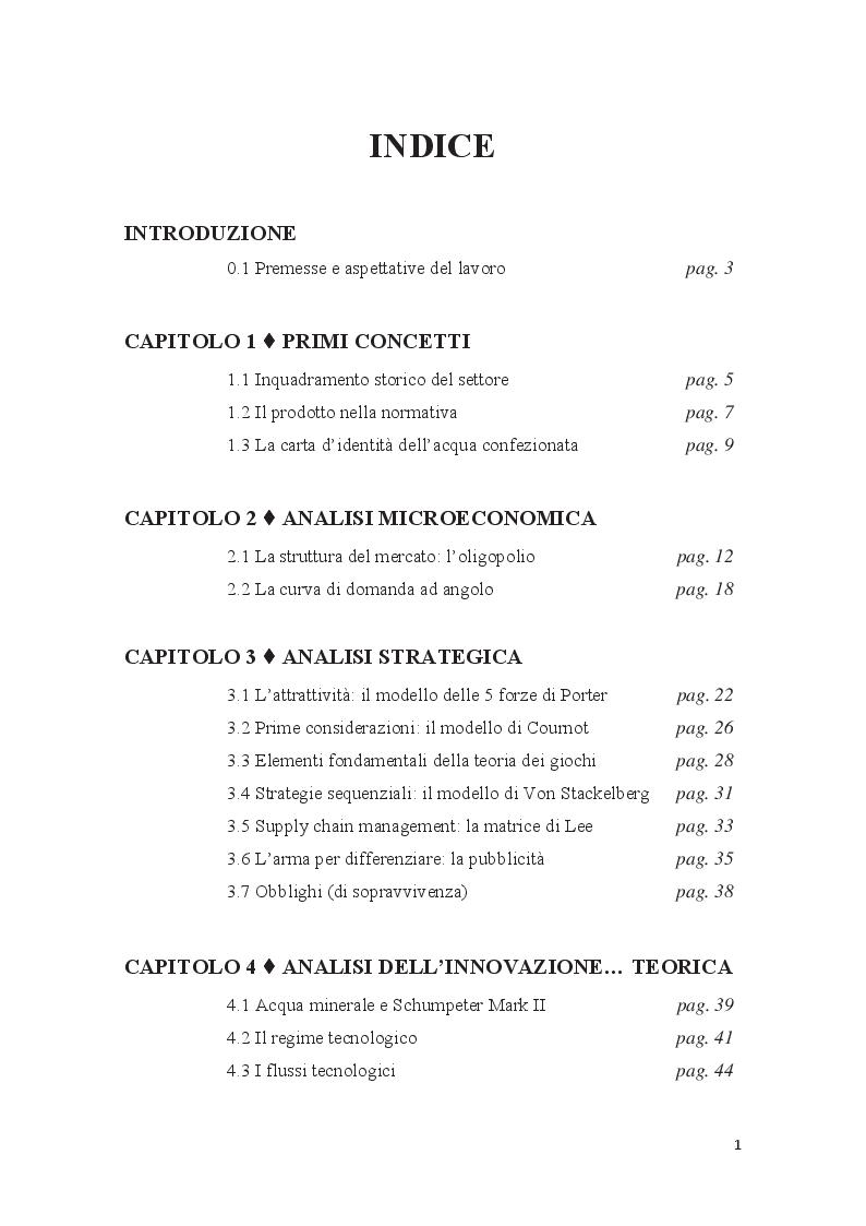 Indice della tesi: Innovazione, struttura e livello di competizione nel mercato delle acque minerali: il caso SACS, Pagina 1
