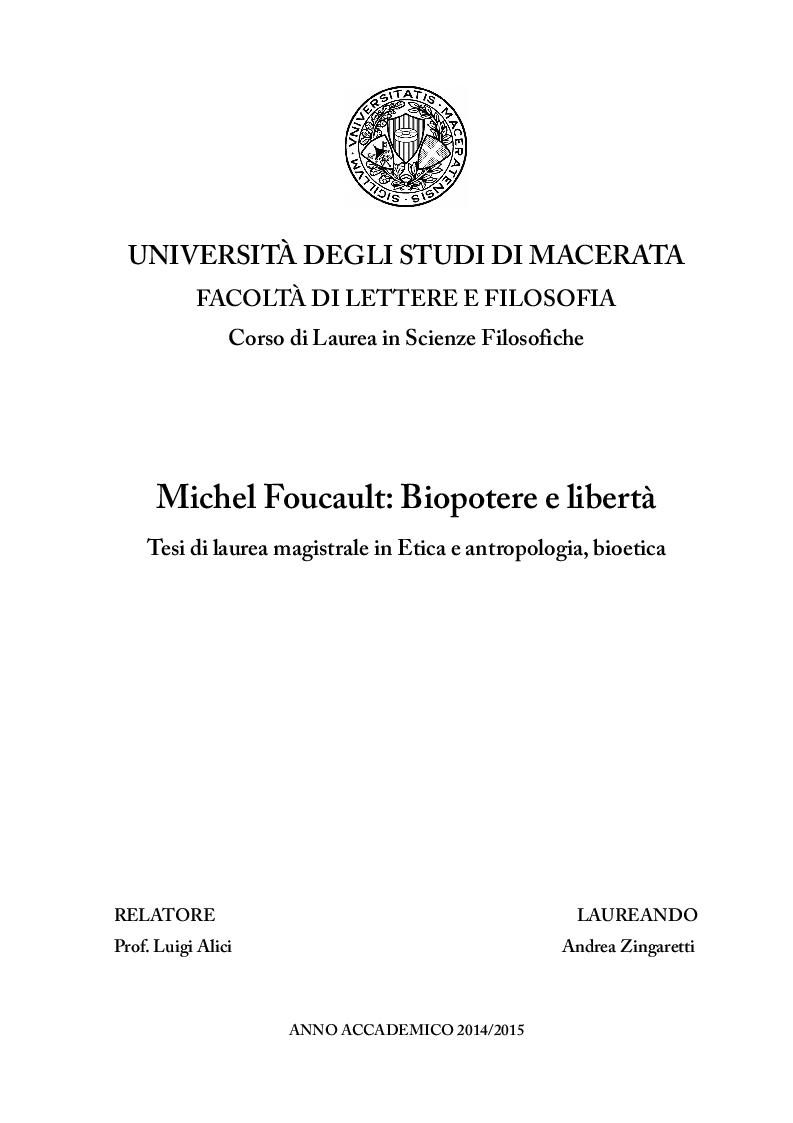 Anteprima della tesi: Michel Foucault: Biopotere e libertà, Pagina 1
