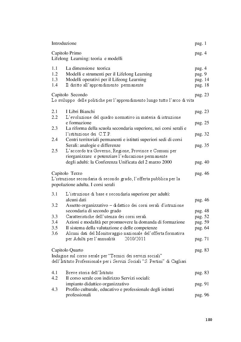 Indice della tesi: Lifelong Learning: l'offerta formativa dei corsi serali per adulti. Il caso dell'Istituto Prof. per i servizi sociali ''S. Pertini'' di  Cagliari, Pagina 1