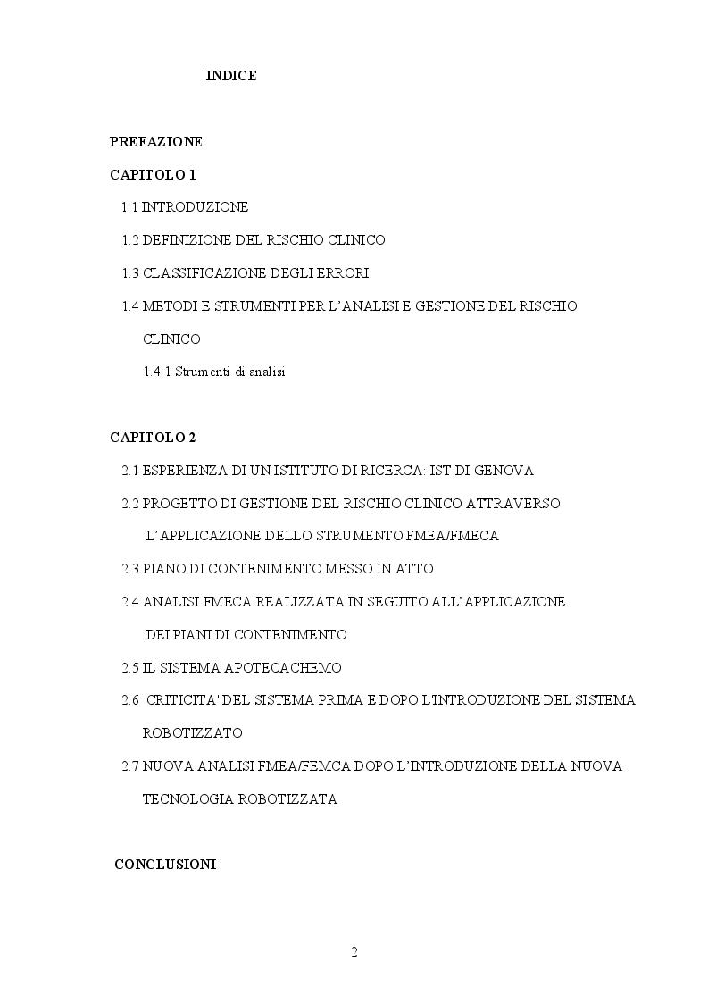 Indice della tesi: Gestione del rischio clinico nell'allestimento dei farmaci antiblastici, Pagina 1