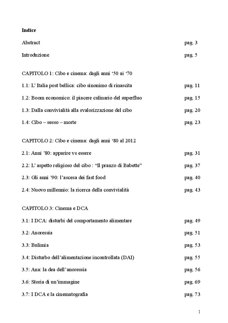 Indice della tesi: Slow Movie: l'immaginario del comportamento alimentare attraverso il cinema, Pagina 1