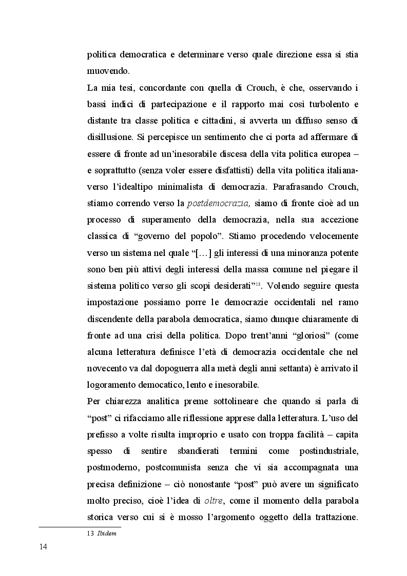 Estratto dalla tesi: Aspetti dell'antipolitica nella democrazia italiana
