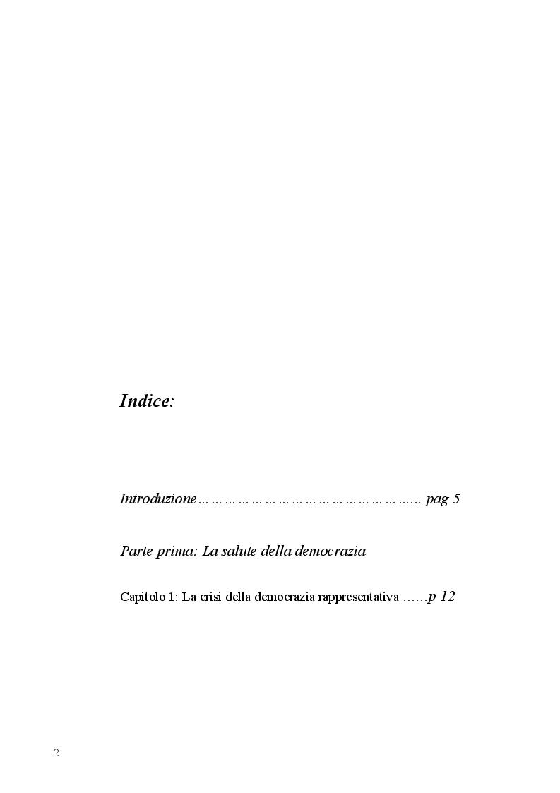 Indice della tesi: Aspetti dell'antipolitica nella democrazia italiana, Pagina 1