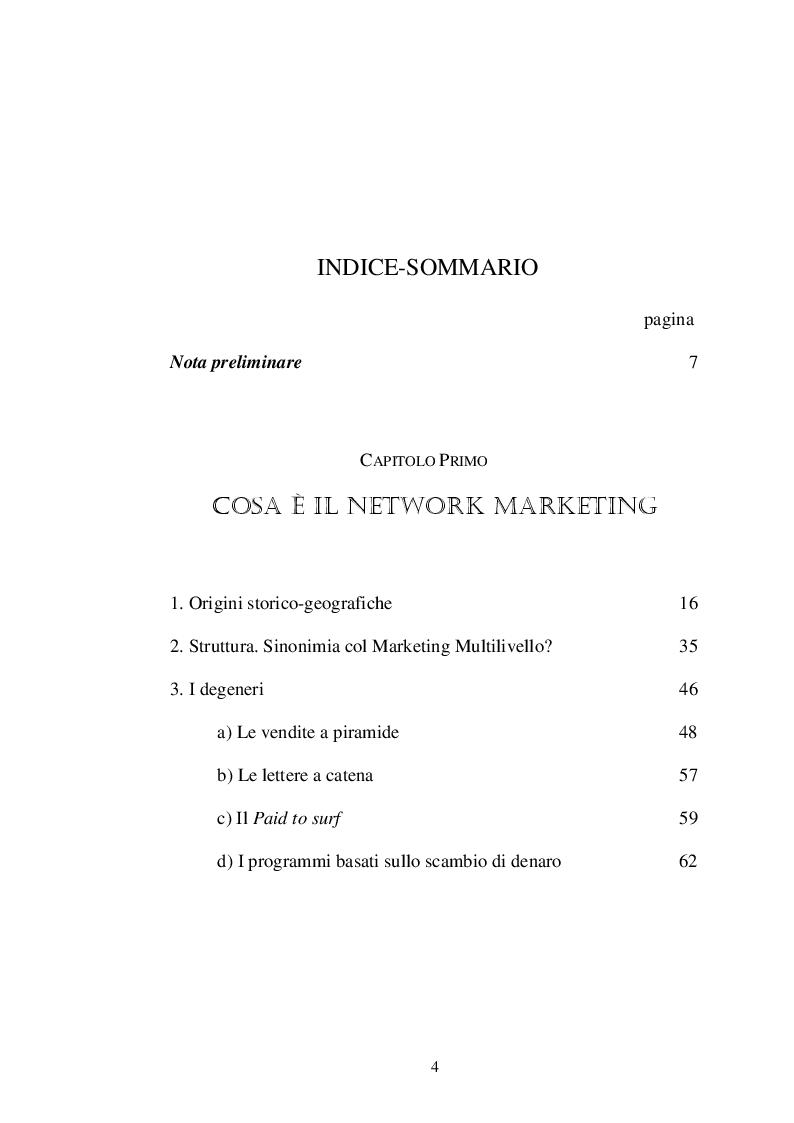 Indice della tesi: Il Network Marketing per l'imprenditore a rete: il caso Amway, Pagina 1