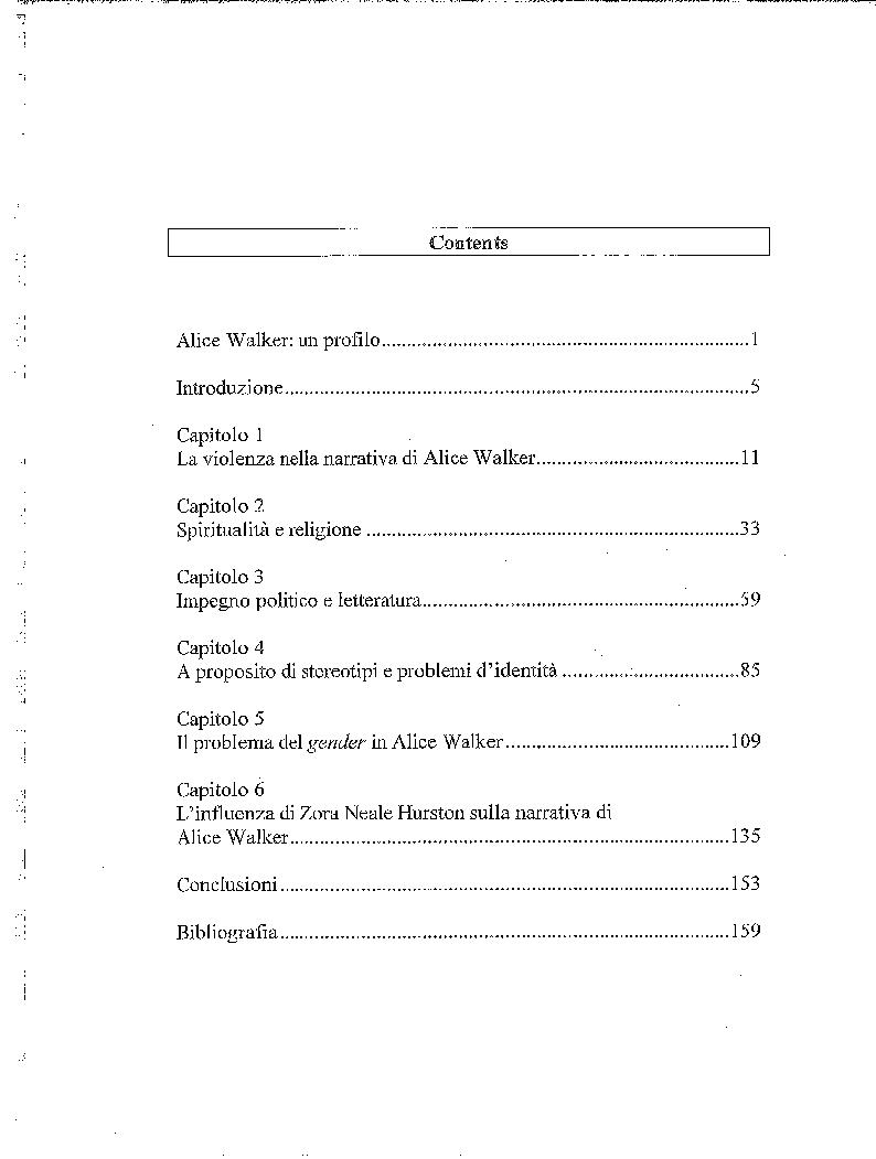 Indice della tesi: Individuo e società nella narrativa di Alice Walker, Pagina 1