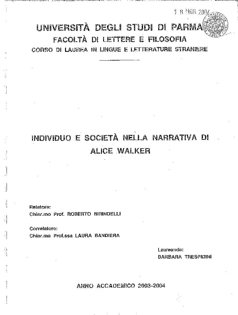 Anteprima della tesi: Individuo e società nella narrativa di Alice Walker, Pagina 1