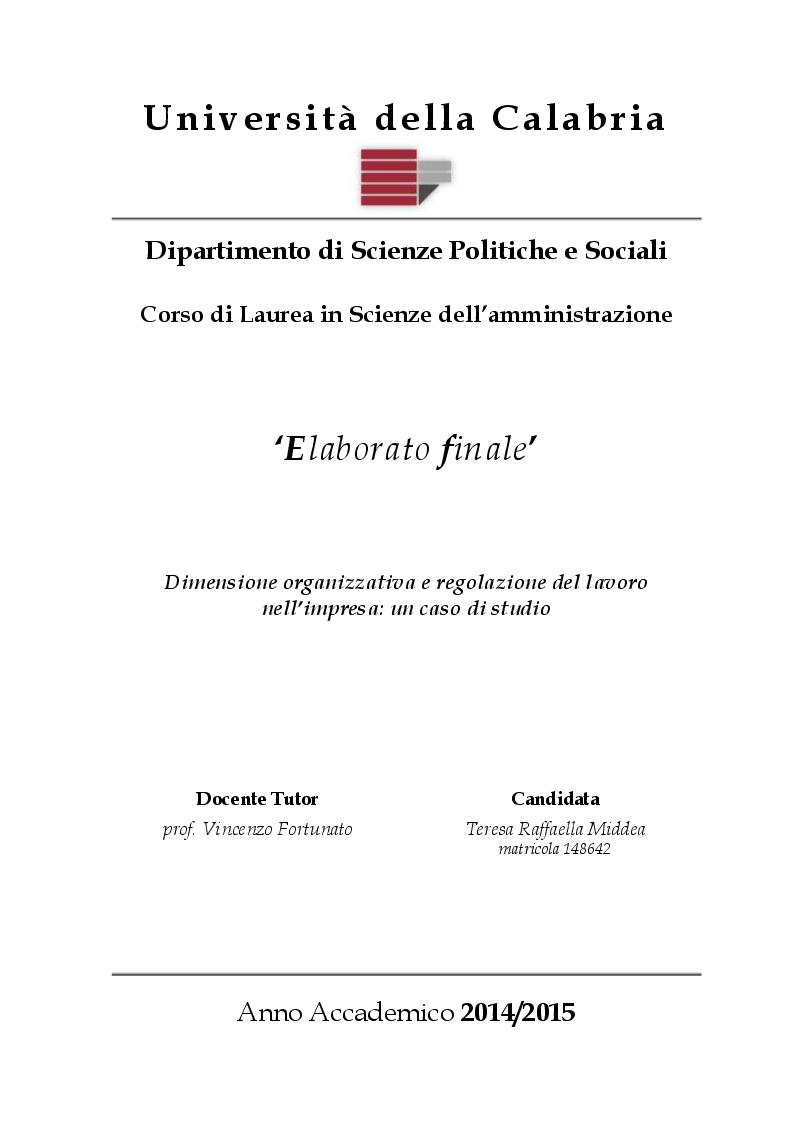 Anteprima della tesi: Dimensione organizzativa e regolazione del lavoro nell'impresa: un caso di studio, Pagina 1