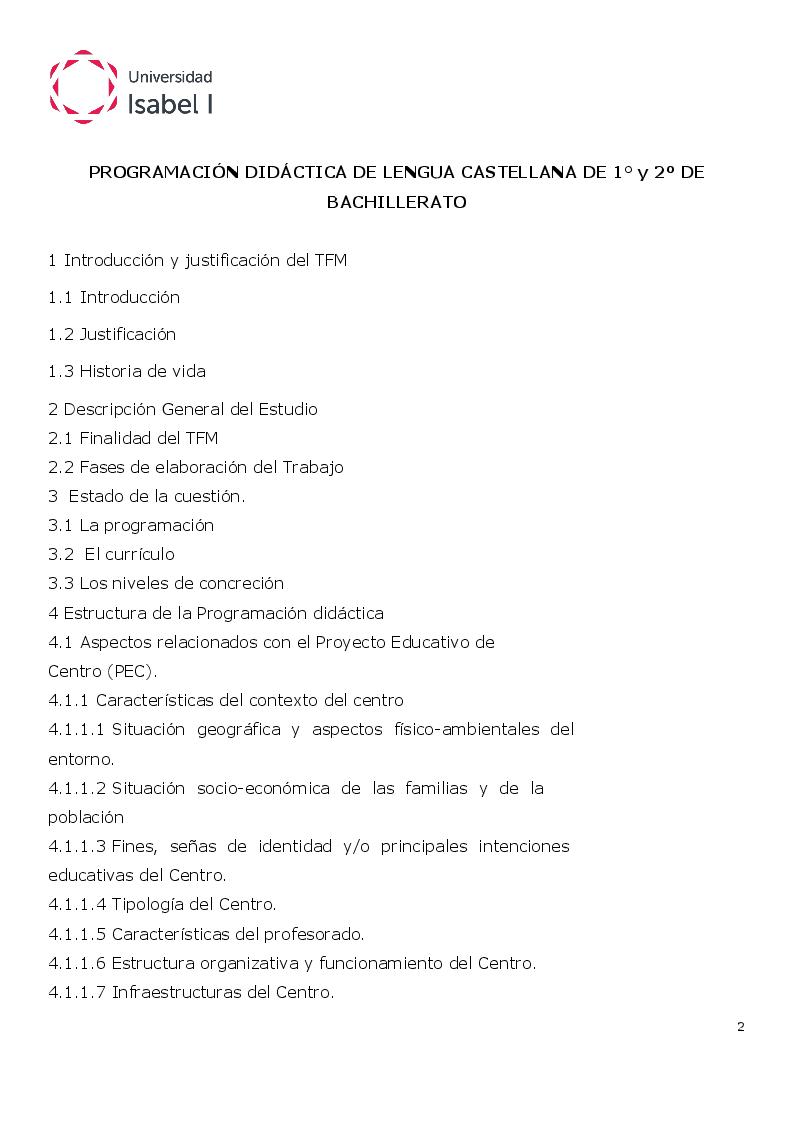 Indice della tesi: Programación Didáctica de Lengua Castellana de 1° Y 2º de Bachillerato, Pagina 1