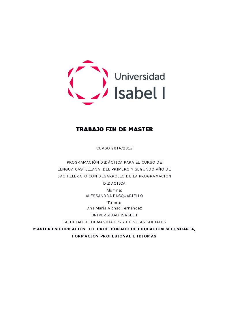 Anteprima della tesi: Programación Didáctica de Lengua Castellana de 1° Y 2º de Bachillerato, Pagina 1