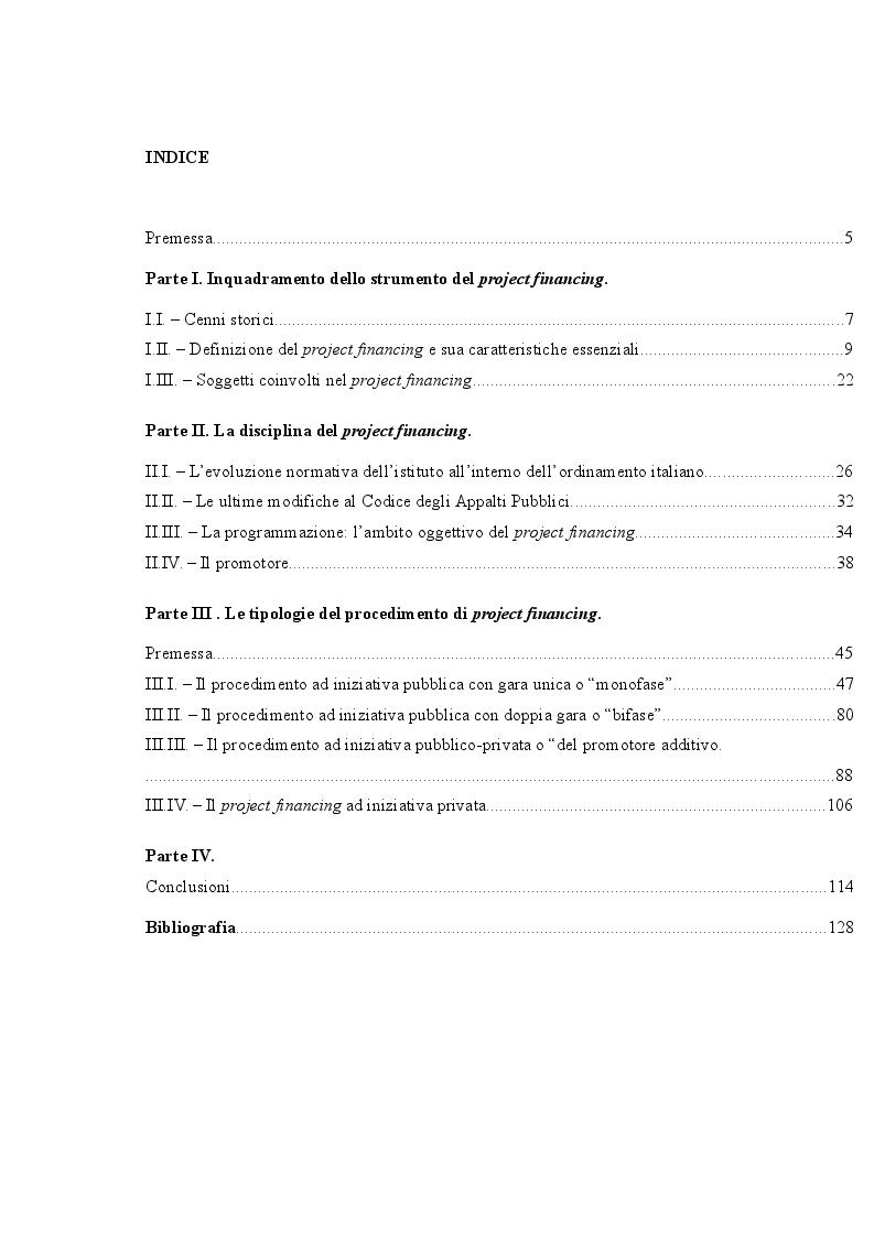 Indice della tesi: La finanza di progetto: art.153 del d.lgs. 12 aprile 2006 n. 163, Pagina 1