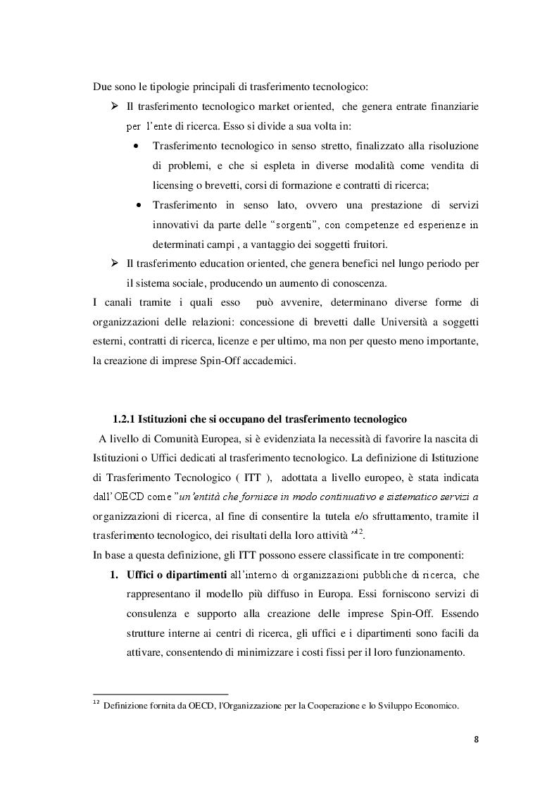 Estratto dalla tesi: Spin-Off accademici e trasferimento tecnologico: esperienza italiana ed europea a confronto