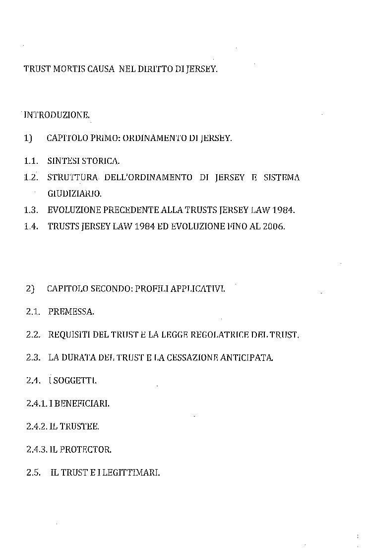Indice della tesi: Trust Mortis Causa nell'ordinamento di Jersey, Pagina 1